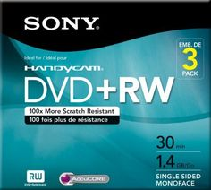 Sony 3DPW30R2HC 3-Pack 8cm DVD+RW with Hangtab by Sony. $10.00. Records up to 20 minutes of video and stores 1.4GB of data.