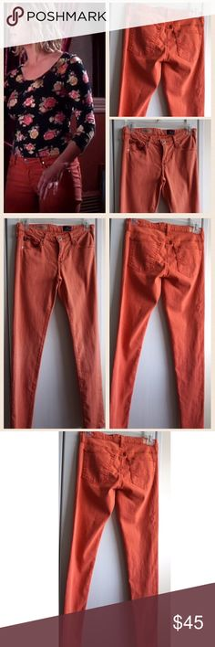 HOLD! AG Jeans The Legging Ankle - RELIST Almost a cross between a Rust and orange color. Worn in PLL by the character Hannah Marin (Ashley Benson). Purchased from Warner Bros costume dept. intentional distressing on one of the pockets for the show. Some of the fashion worn on tv sites and blogs mention the subtle distressing on the pocket. There are two small minor light marks on one of the back legs and this has been taken into consideration a/ price. I do not have a COA, but I do have the…