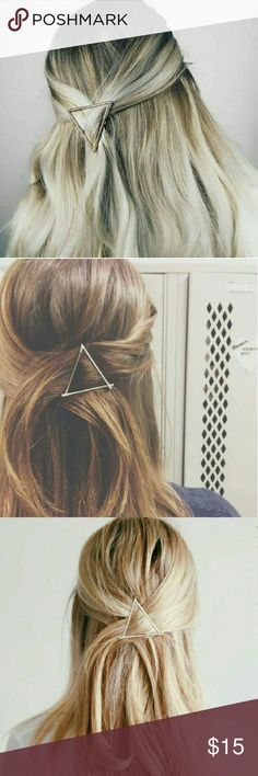 Triangle Hair barrette 1 piece One size New Silver tone Unbranded *listed for exposure* Free People Accessories Hair Accessories