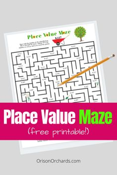 Is your child struggling with the concept of place value? This set of place value mazes will help him better understand and improve his number sense! Printable Mazes, Free Printables, Teaching Place Values, Framed Words, Math Graphic Organizers, Fun Math, Math Games, Math Word Problems, Math Journals