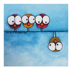 Brand new addition - fresh off the artist& easel. Original Acrylic Canvas Fine Art Whimsical Bird Painting There& Always One Doodle Art, Acrylic Canvas, Canvas Art, Whimsical Art, Art Plastique, Bird Art, Painting Inspiration, Art Lessons, Painting & Drawing