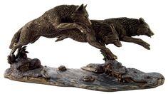 走る3頭の狼 ブロンズ像彫刻動物置物雑貨美術品工芸品オオカミ_1