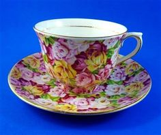 Striking Rose Chintz Colclough Tea Cup and Saucer Set