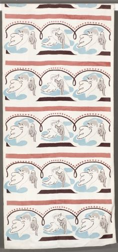Dove, 1937-1938 designed by Duncan Grant (British, 1885-1978) silkscreen printed rayon, Overall - h:265.80 w:124.20 cm
