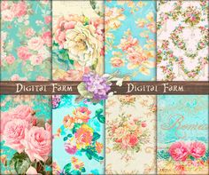 Mint shabby chic paper floral digital paper Shabby by DigitalFarm