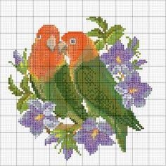 Solo Patrones Punto Cruz (pág. 403) | Aprender manualidades es facilisimo.com Love Birds 1