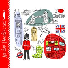 London clip art and digital paper set by GraphicMarket on Etsy, $4.99