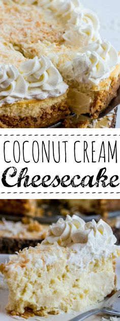 Creamy, rich and delicious this Coconut Cream Cheesecake takes the traditional pie and gives it a fun twist!Creamy, rich and delicious this Coconut Cream Cheesecake takes the traditional pie and gives it a fun twist! No Bake Desserts, Just Desserts, Delicious Desserts, Dessert Recipes, Yummy Food, Dessert Healthy, Apple Desserts, Healthy Sweets, Healthy Dinner Recipes