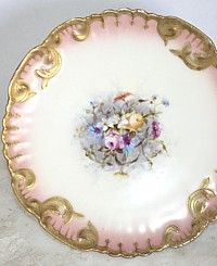 Antique French Hand Painted Pink Floral Limoges Cabinet Plate-Pink, Roses, porcelain,Floral, Bouquet, Blue, Yellow, White, Apricot, rococo, scallop, wild, center, collection, collector