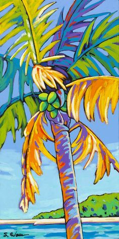 Coconut Palm Dances in Blue by Sally Evans
