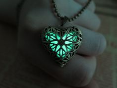 Green the Heart of Atlantis, Glowing Necklace , Glowing Jewelry,Glowing Pendant,Glow heart,Glow Pendant Necklace by KarlWorldArt on Etsy