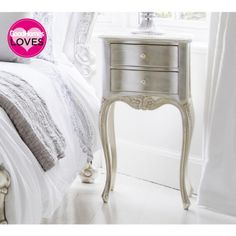 Sylvia Silver 2-Drawer Bedside Table