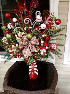 Elf Arrangement Christmas Centerpiece holiday by WreathsEtc