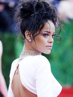 Curly Hair Ideas - Rihanna updo with ringlets