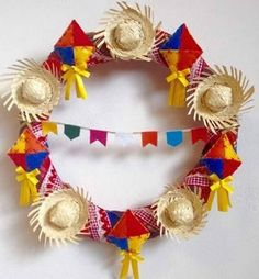 :D❤️ --- 'Teeny-Tiny Sombrero Statement '. Diy And Crafts, Crafts For Kids, Arts And Crafts, Summer Wreath, 4th Of July Wreath, Party Decoration, Holidays And Events, Some Ideas, Party Time