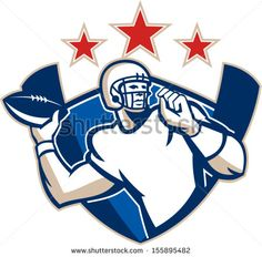 Illustration of an american football gridiron quarterback player throwing ball facing side set inside crest shield with stars and stripes flag done in retro style. - stock vector #Americanfootball #retro #illustration