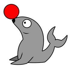 simple cartoon seal made from basic shapes - Simple Cartoon Pics