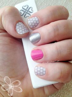 """New favorite #Jamberry manicure.  I'm having a drawing for a FREE sheet of gray & white polka dot #nailart wraps when my Facebook page reaches 100 likes.  Please stop on over and """"like"""" my page to enter the drawing! Facebook.com/jennycjams"""