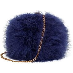 Zarapack Women's Genuine Fluffy Feather Fur Round Clutch Shoulder Bag... ($32) ❤ liked on Polyvore featuring bags, handbags, shoulder bags, shoulder handbags, fur purse, blue hand bag, blue purse and purse shoulder bag