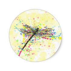 Cute trendy girly watercolor splatters dragonfly stickers