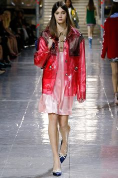 """Miu Miu """" Plastic Fantastic"""" -Le parfait coupe-vent- for Fall/ 2014 Ready-To-Wear Paris-""""I worked for one month on the right windbreaker that was not puffy-puffy. The perfect windbreaker—I had to get it right."""" -Miuccia Prada -Different and Fun catwalk with a lot of #Plastic #Brocade #transparency"""