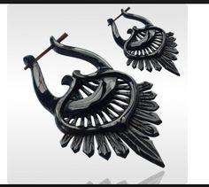 Spirale Faux Oreille Jauge sculpté fait main HORN BONE EARRING Split Crochet étoiles Inlay