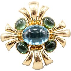 Verdura Cabana Blue Topaz Green Tourmaline Gold Brooch 1