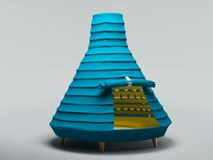 an indoor playhouse for children, 'welcome' by mermelada studio takes on a form reminiscent of typical imaginary structures   of our youth such as a teepee or an igloo. the tiered conical formation is influenced by a chinese lantern