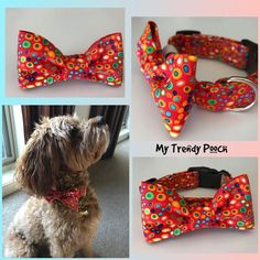 Red Colourful Spots Dog Collar bow tie or bandana dog leash   Etsy