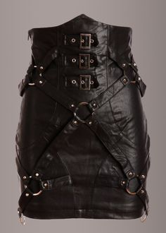 (please imagine H dressing N up in this one) Take it to the edge in this ultrafab vegan leather skirt! This skirt by Punk Rave is made out of vegan black leather and flaunts rocking studded details and buckles. The back of the skirt has beautifu Dark Fashion, Gothic Fashion, Style Fashion, Petite Fashion, Punk Goth Fashion, Curvy Fashion, Fashion Ideas, Fashion Trends, Fashion Tips