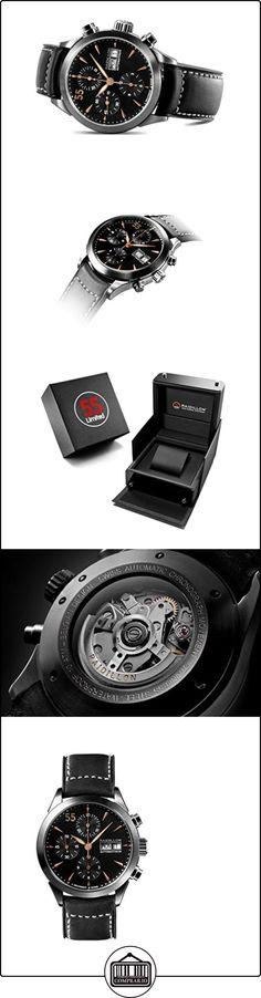 raidillon Timeless-Reloj automático para hombre con cronógrafo y negro correa de piel 38-cat-048  ✿ Relojes para hombre - (Lujo) ✿