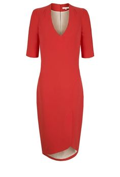 By Suzannah, Beautiful Italian mid-weight crepe shift dress tailored individually in London. This dress has a wonderful curved v neck and tulip hem which is cut slightly higher at the front, and scoops down at the back hemline in a beautiful elegant line. There is an oriental feeling about this dress with the height at the back neck and slim sleeves. It is delightful to wear, body skimming and ultimately flattering. The fabric has an element of stretch making an easy wear.