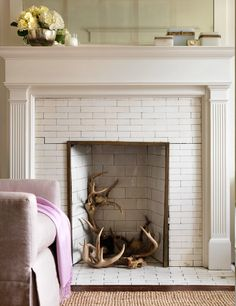 Antlers in the fireplace by Michael Penney