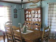 Mary Rose's Cafe: Sherwin Williams Watery Ballard Designs Buffalo Check Curtains Ballard Designs Tortolla Rug