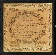 Sampler made at the Moorestown Friends Schol. Maker: Margaret Schanck (born 1790). Date: 1804