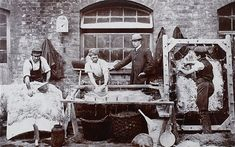 One of the earliest photographs recording a London industry, this picture is one of a series taken by Geoffrey Bevington, a leather merchant and tanner from Bermondsey. Bermondsey was the capital's leather processing centre, and these pictures were displayed at the Bevington and Sons' stand at the 1862 International Exhibition.