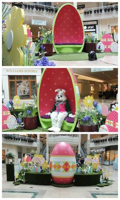 We created fun egg throne for the Easter Bunny. It's large enough for him and a few guests!
