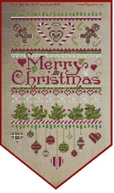 Filigram - Merry Christmas Banner - Cross Stitch Pattern