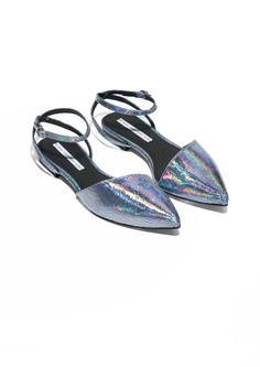 & Other Stories | Cracked Metallic Flat Sandals
