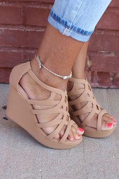 One Faith Boutique - A Girls Best Friend Wedge ~ Tan, $34.00 (https://www.onefaithboutique.com/accessories/shoes/a-girls-best-friend-wedge-tan/)