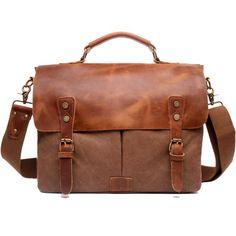 Messenger Bag Satchel Vintage Canvas Leather x (Coffee) - icambag Canvas Leather, Leather Bag, Activity Bags, Canvas Messenger Bag, Vintage Canvas, Day Bag, Metal Buckles, Laptop Bag, Briefcase