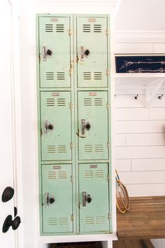 Vintage mint colored locker incorporated in to the drop zone space - as featured on 'Rafterhouse' pilot show on HGTV.