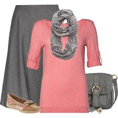 "#Modest doesn't mean frumpy. #DressingWithDignity on.fb.me/1lfqxT2  ""PinkGreySimple"" by samanthahac on Polyvore"