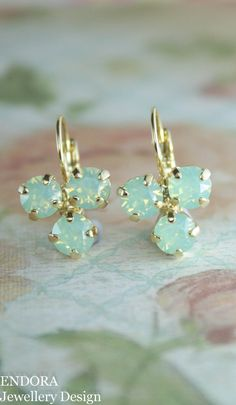 Mint and gold crystal earrings | Mint and gold wedding | mint opal crystal earrings | mint bridesmaid earrings | www.endorajewellery.etsy.com