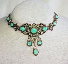 Absinthe   dekadent choker and earrings in green by Anonijewellry, $105.00