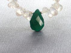 Chunky Necklace Quartz Green Onyx Teardrop St Patrick's by CCARIA, $26.00