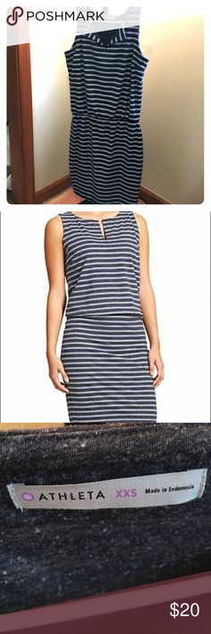 Athleta Striped Vida Dress, Navy, XXS Comfortable striped vida dress will be a summer staple! Navy with white stripes. Notched at the neckline. Blousy top with fitted bottom, elastic at waistline. Hits above the knee. Great fit and in great condition with no defects. Size XXS. Selling only. Athleta Dresses