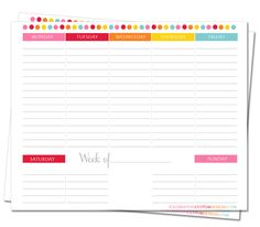Printable Weekly Planner by icelebration custom designs