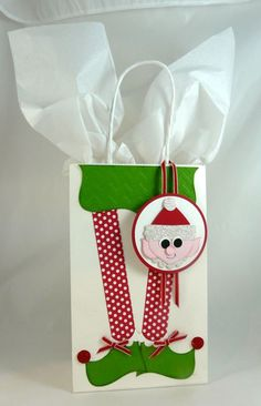 Cute elf gift bag and punch art tag