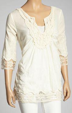 Ivory Crochet-Trim V-Neck Top